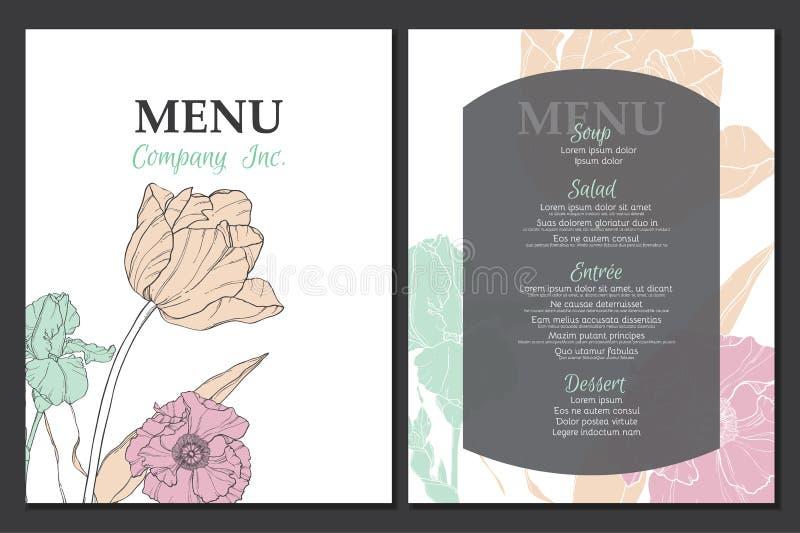 Projeto do molde do menu do vetor com elementos florais tulipa do vintage, papoila, narciso amarelo Grande para o restaurante, ca ilustração stock