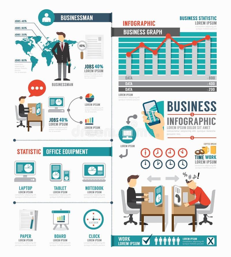 Projeto do molde do trabalho do mundo do negócio de Infographic vetor do conceito ilustração stock