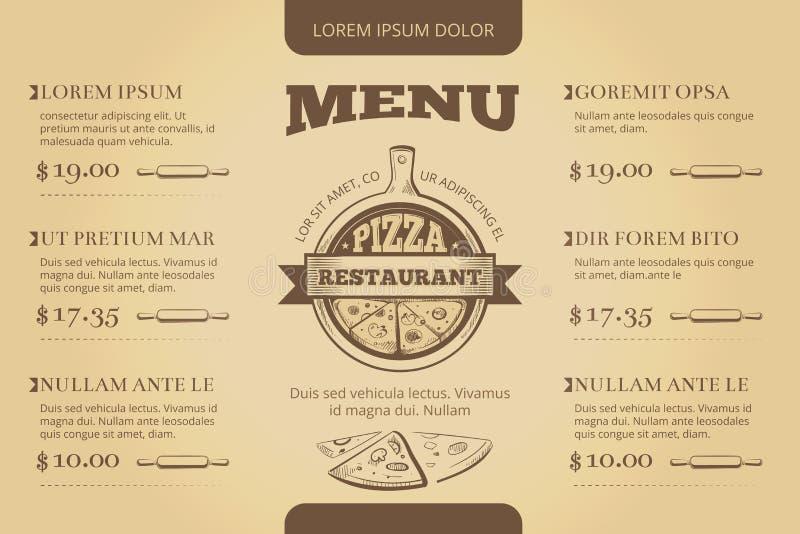 Projeto do molde do vetor do menu da pizaria do café do restaurante ilustração royalty free