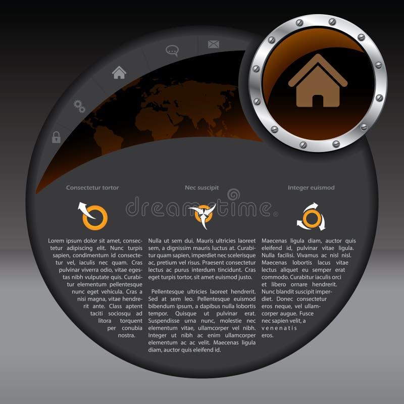 Projeto do molde do Web site com cores escuras ilustração stock