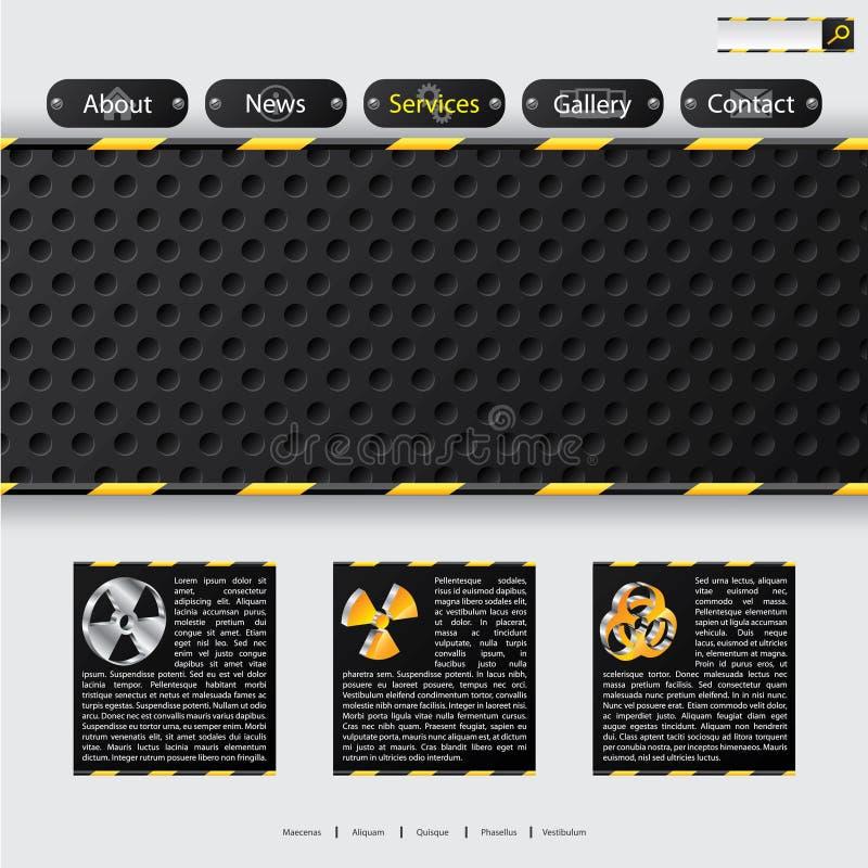Projeto do molde do Web site com elementos da construção ilustração stock