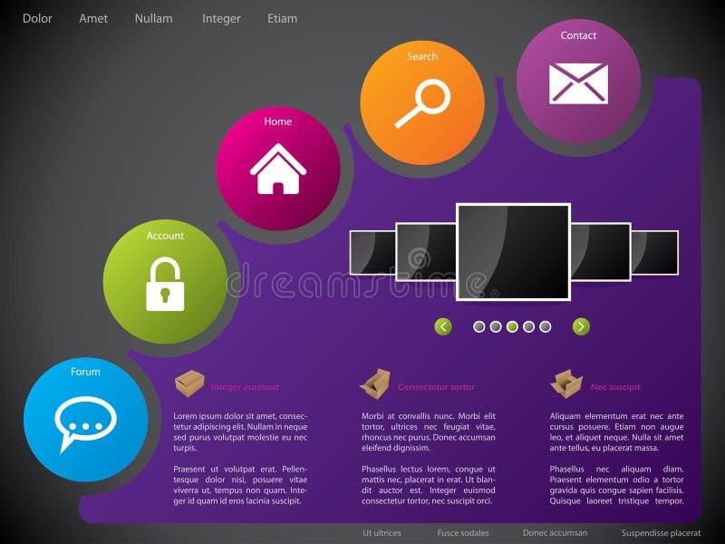 Projeto do molde do Web site com etiquetas coloridas ilustração stock