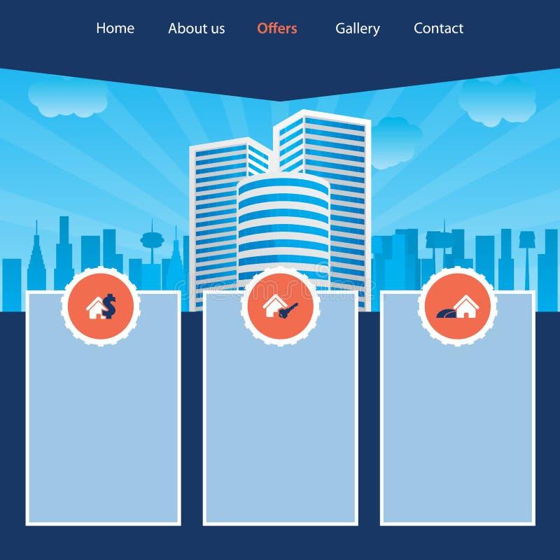 Projeto do molde do Web site da arquitectura da cidade ilustração stock