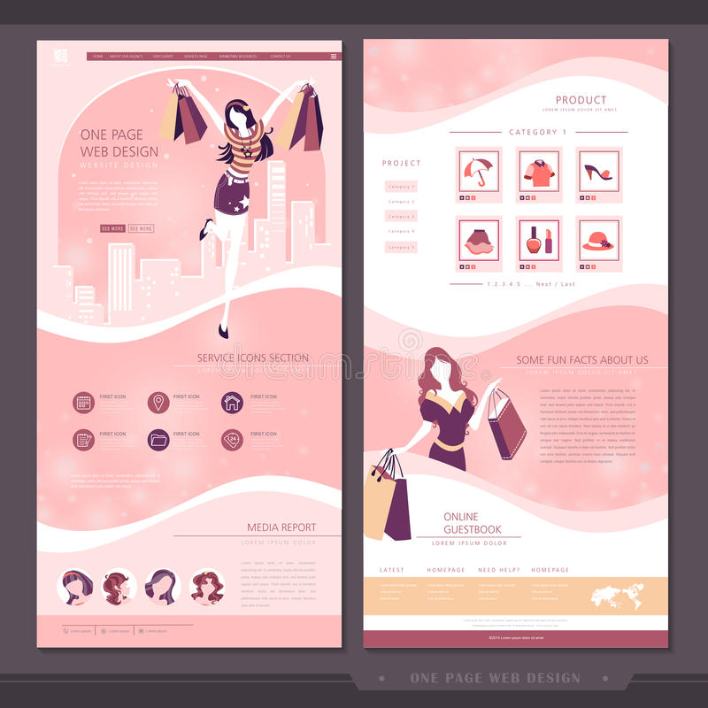 Projeto do molde do Web site da página do conceito um da compra ilustração stock