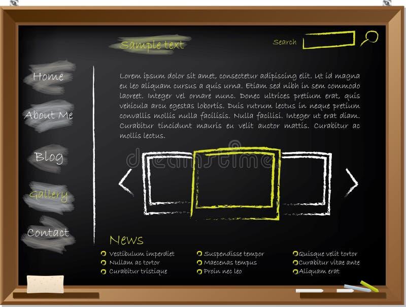 Projeto do molde do Web site no quadro-negro ilustração stock