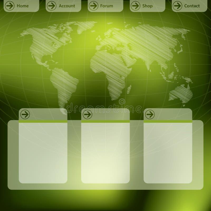 Projeto do molde do Web site no verde ilustração royalty free