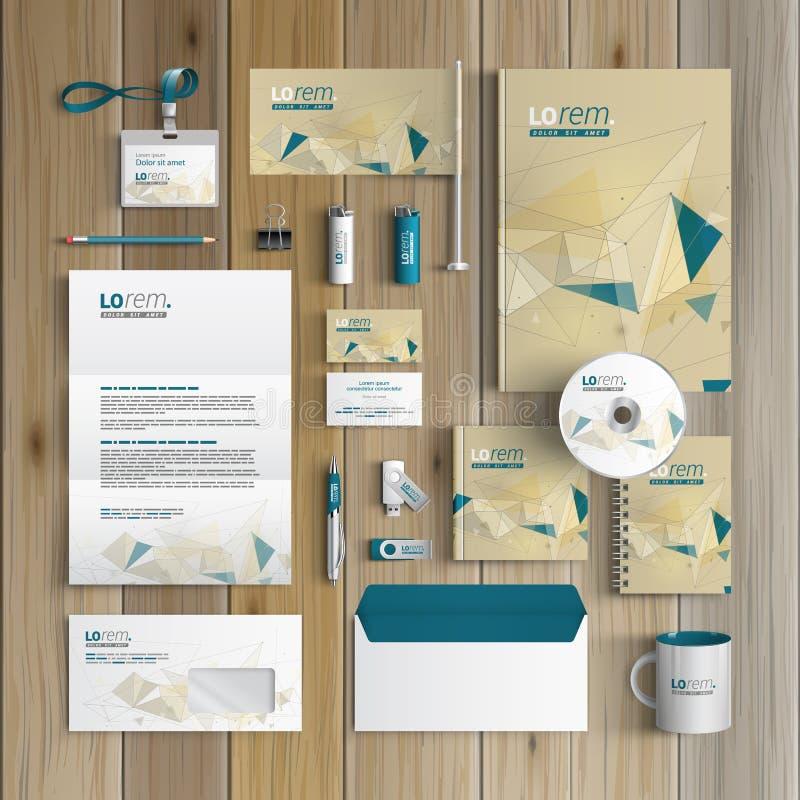 Projeto do molde dos artigos de papelaria ilustração stock