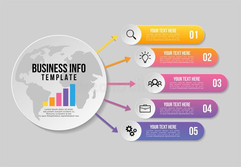 Projeto do molde dos elementos de Infographics do vetor O espaço temporal do visualização dos dados comerciais com os ícones  ilustração royalty free