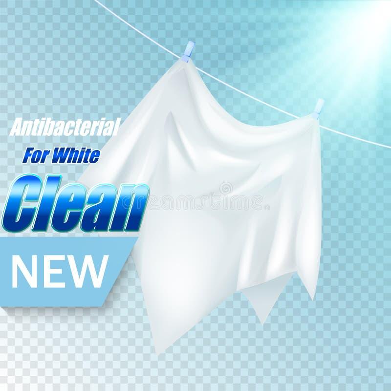 Projeto do molde do empacotamento para o pó de lavagem Realístico branco de matéria têxtil para anunciar o detergente em transpar ilustração royalty free