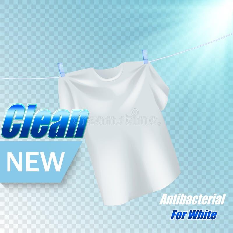 Projeto do molde do empacotamento para o pó de lavagem Realístico branco de matéria têxtil para anunciar o detergente em transpar ilustração do vetor