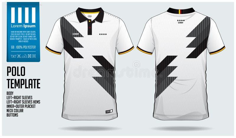 Projeto do molde do esporte do t-shirt de Alemanha Team Polo para o jérsei de futebol, o jogo do futebol ou o sportwear Uniforme  ilustração royalty free