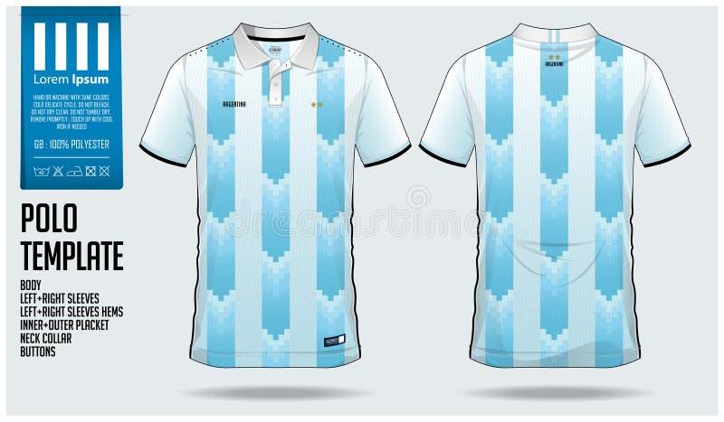 Projeto do molde do esporte do t-shirt de Argentina Team Polo para o jérsei de futebol, o jogo do futebol ou o sportwear Uniforme ilustração stock