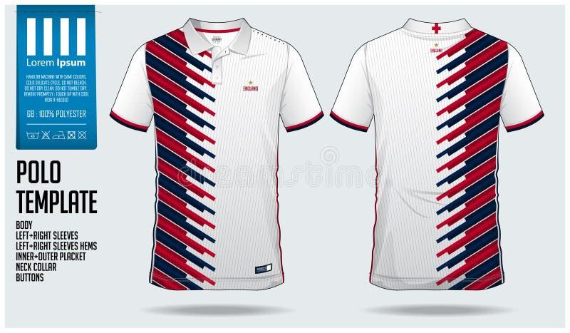 Projeto do molde do esporte do t-shirt de Inglaterra Team Polo para o jérsei de futebol, o jogo do futebol ou o sportswear Unifor ilustração do vetor