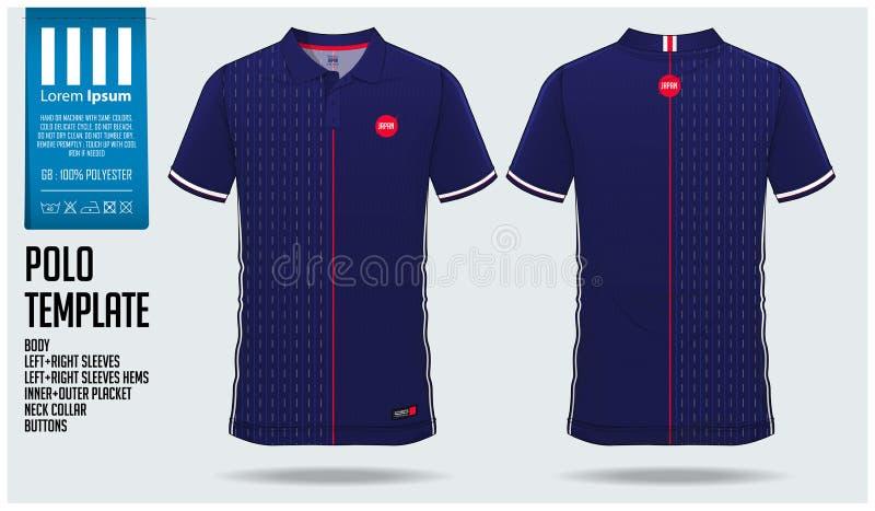 Projeto do molde do esporte do t-shirt de Japão Team Polo para o jérsei de futebol, o jogo do futebol ou o sportswear Uniforme cl ilustração do vetor