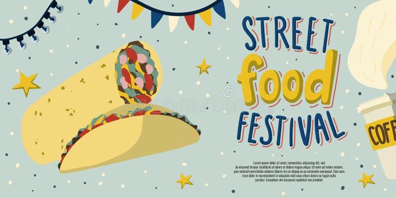 Projeto do molde do inseto do festival do alimento da rua com alimento mexicano: tako e burrito - e café a ir à disposição desenh ilustração royalty free