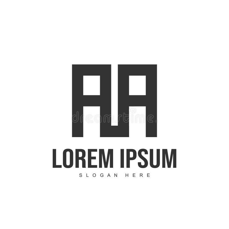 Projeto do molde do logotipo do AA Projeto do logotipo da letra inicial ilustração stock