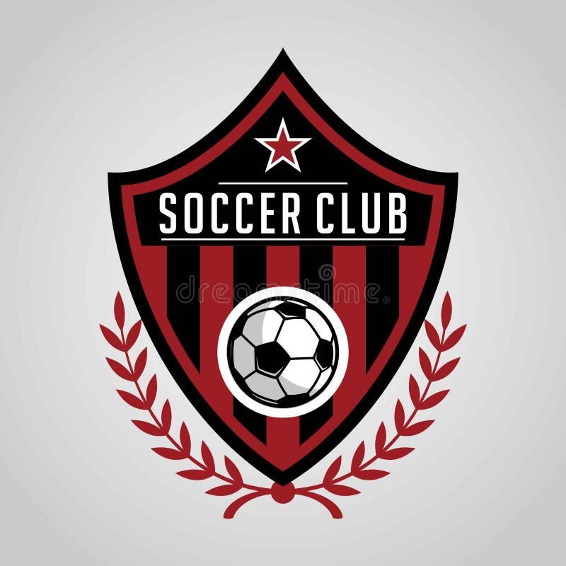 Projeto do molde do logotipo do crachá do futebol, equipe de futebol, vetor Esporte, ícone ilustração stock