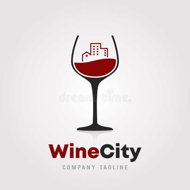 Projeto do molde do logotipo da cidade do vinho Um vidro do vinho com ícone da construção da cidade na ilustração branca para ade ilustração stock
