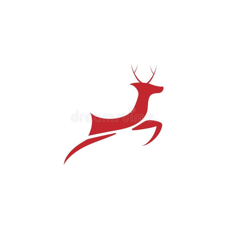 Projeto do molde do logotipo dos veados vermelhos para chrismas ilustração stock