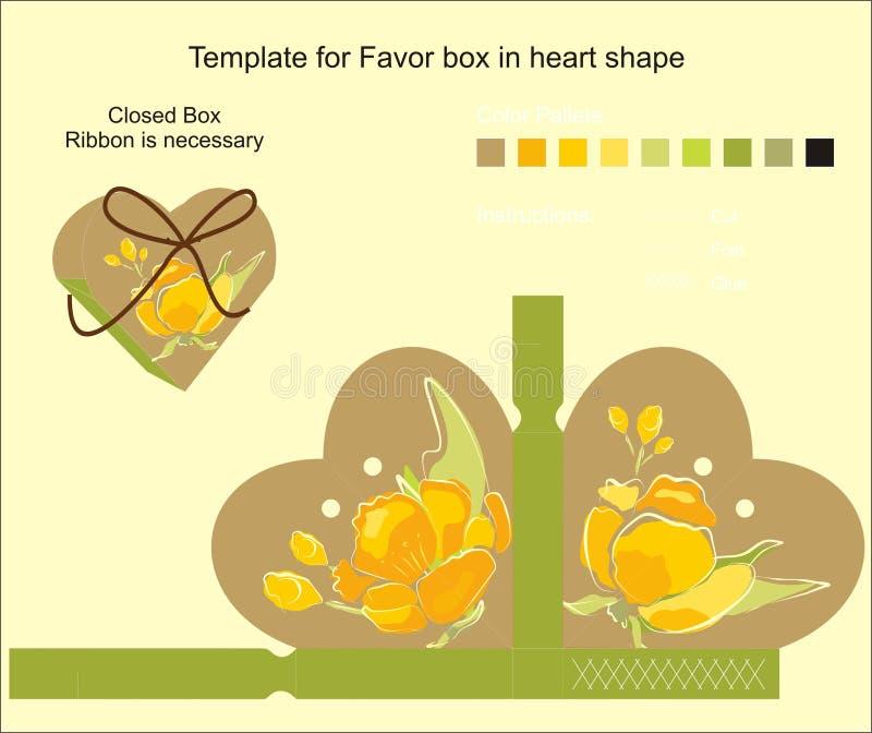 Projeto do molde para a caixa de presente. ilustração royalty free