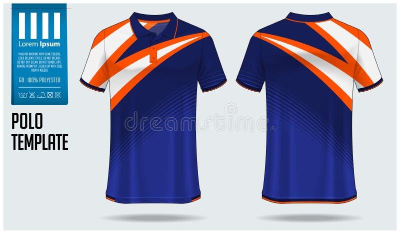 Projeto do molde do t-shirt do polo para o jérsei de futebol, o jogo do futebol ou o sportswear Ostente o uniforme na vista diant ilustração do vetor