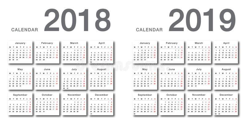 Projeto do molde do projeto do vetor do calendário do ano 2018 e do ano 2019, o simples e o limpo ilustração royalty free