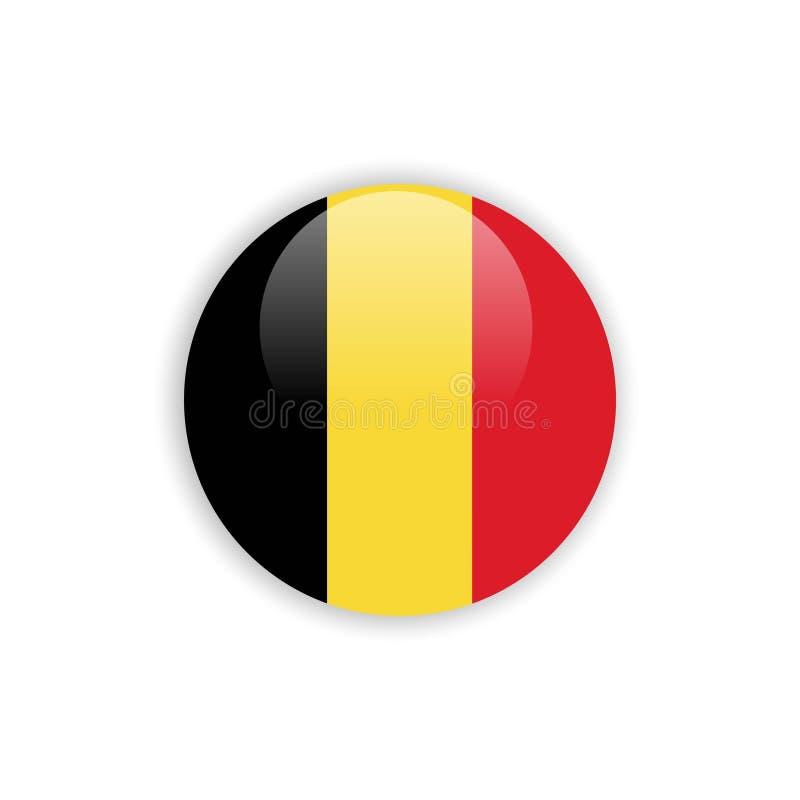 Projeto do molde do vetor da bandeira de Bélgica do botão ilustração stock