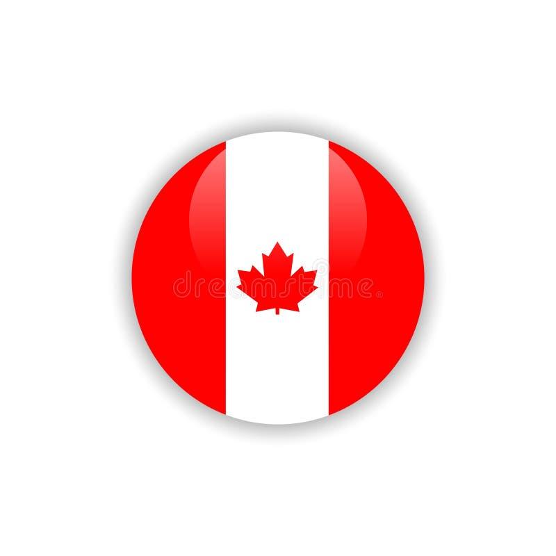Projeto do molde do vetor da bandeira de Canadá do botão ilustração royalty free