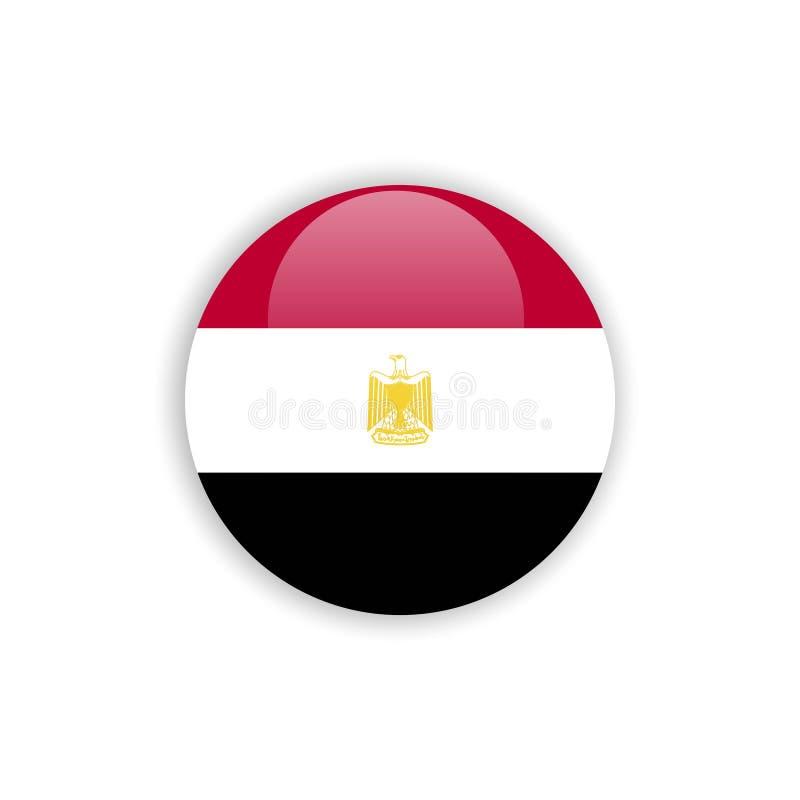Projeto do molde do vetor da bandeira de Egito do botão ilustração do vetor