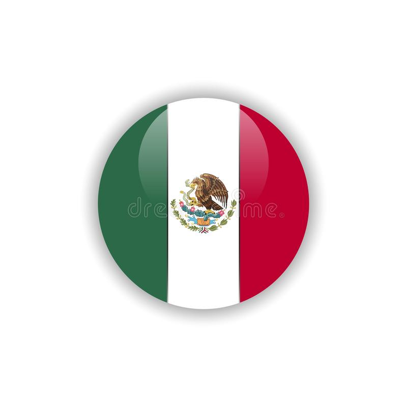 Projeto do molde do vetor da bandeira de México do botão ilustração royalty free