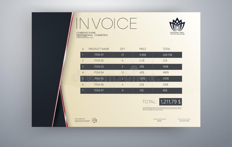 Projeto do molde do vetor da fatura no tema vermelho Molde da fatura Prder do papel da tabela da cotação para serviços da contabi ilustração royalty free