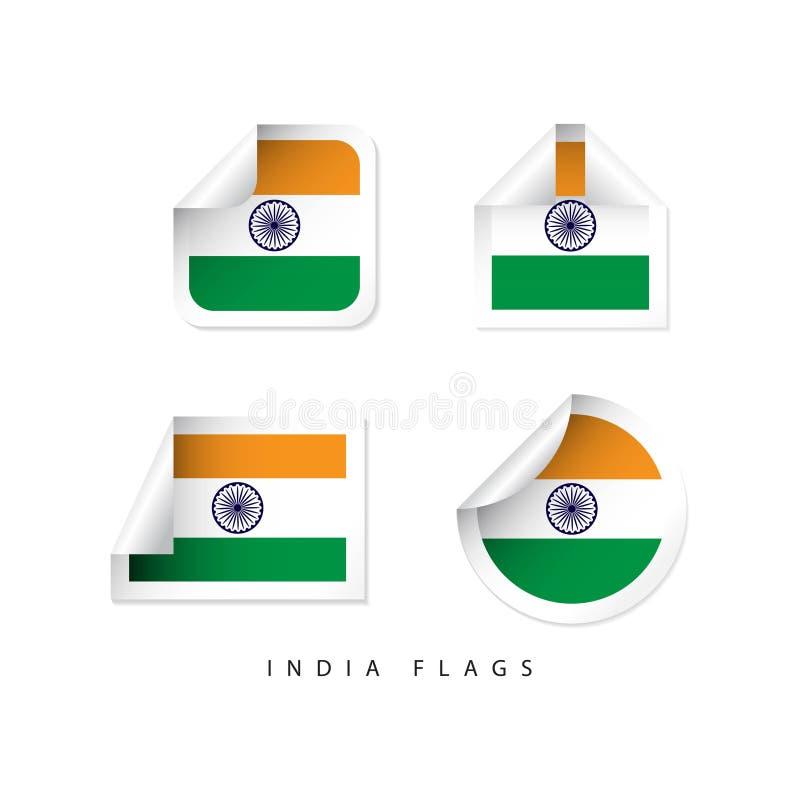 Projeto do molde do vetor das bandeiras da etiqueta da Índia ilustração do vetor