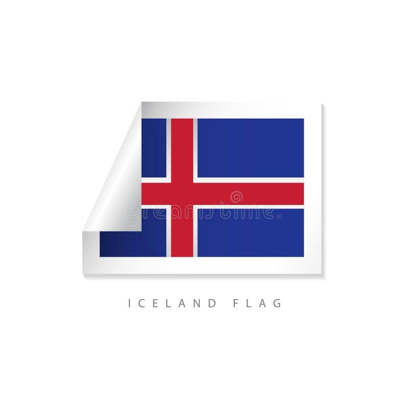 Projeto do molde do vetor das bandeiras da etiqueta de Islândia ilustração stock