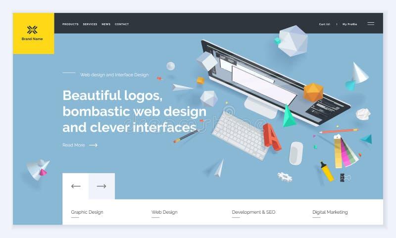 Projeto do molde do Web site ilustração stock
