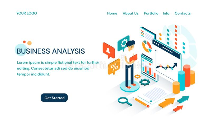 Projeto do molde do Web site da análise de negócio com espaço para o texto e um homem de negócios dos desenhos animados que faz u ilustração royalty free