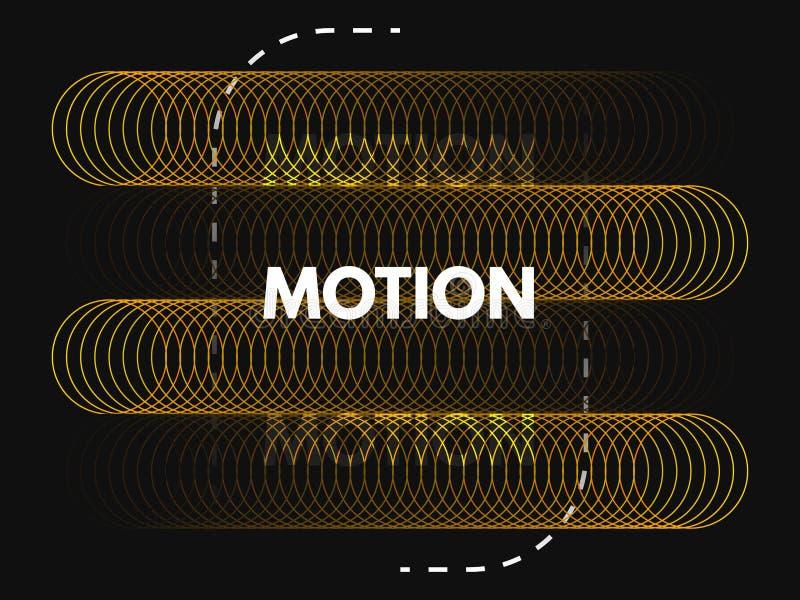 Projeto do movimento Conceito mínimo com círculos de cor e linhas tracejadas Anunciando o molde no fundo preto amarelo ilustração royalty free