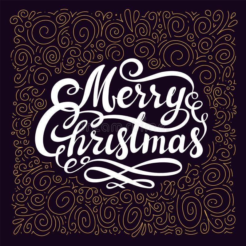Projeto do Natal com Feliz Natal caligráfico inscrição e elementos do Natal da folha de ouro no fundo do darck ilustração stock