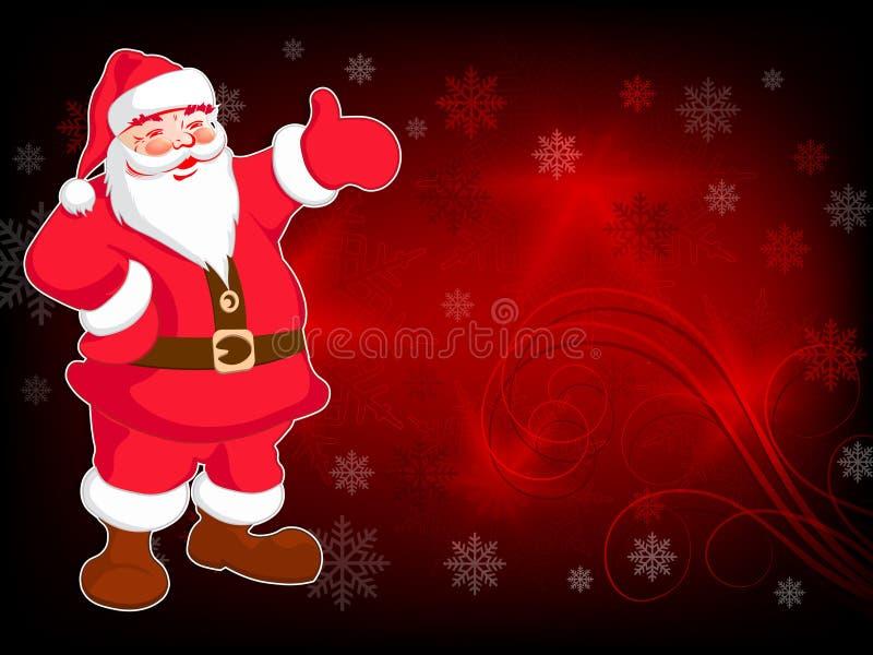 Projeto do Natal com quadro branco, com Santa Claus e lotes de flocos de neve maravilhosos ilustração stock