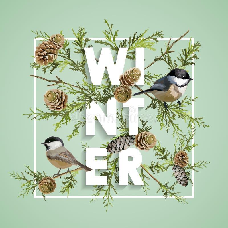 Projeto do Natal do inverno no vetor Pássaros do inverno com pinhos ilustração stock