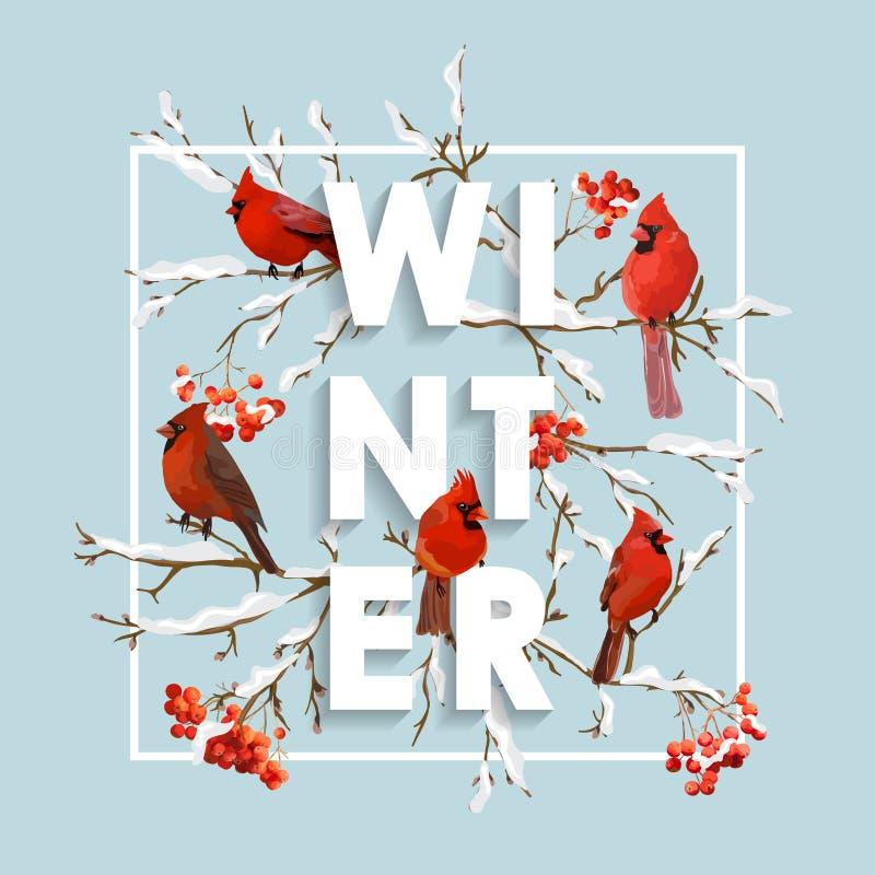 Projeto do Natal do inverno no vetor Pássaros do inverno com Rowan Berries ilustração royalty free
