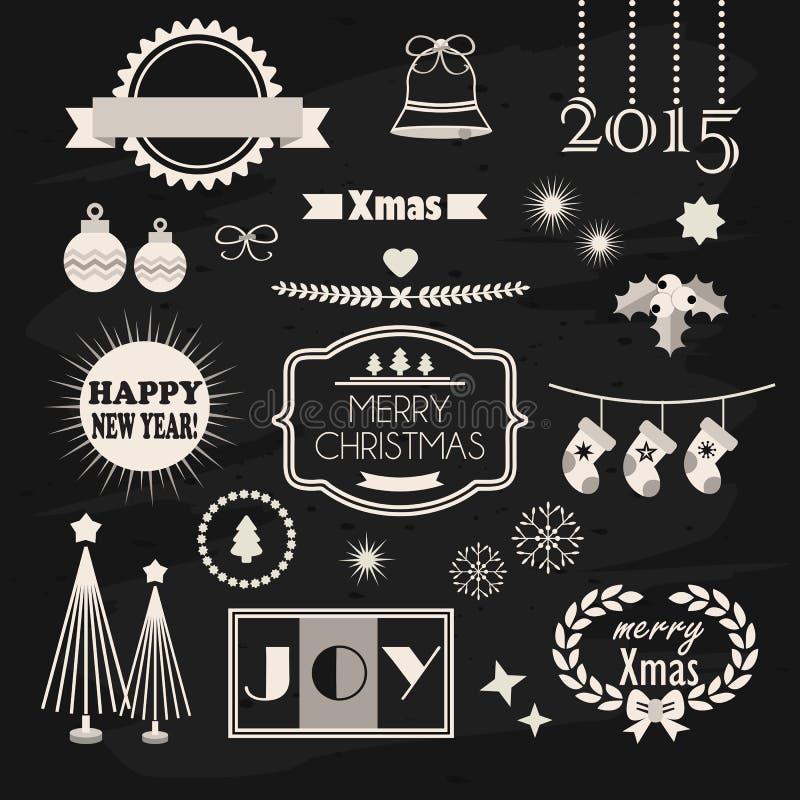 Projeto do Natal e do ano novo e grupo de elementos da decoração ilustração do vetor