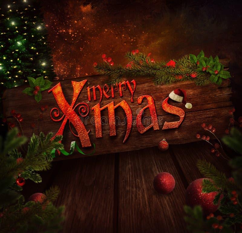 Projeto do Natal - sinal do Xmas ilustração do vetor