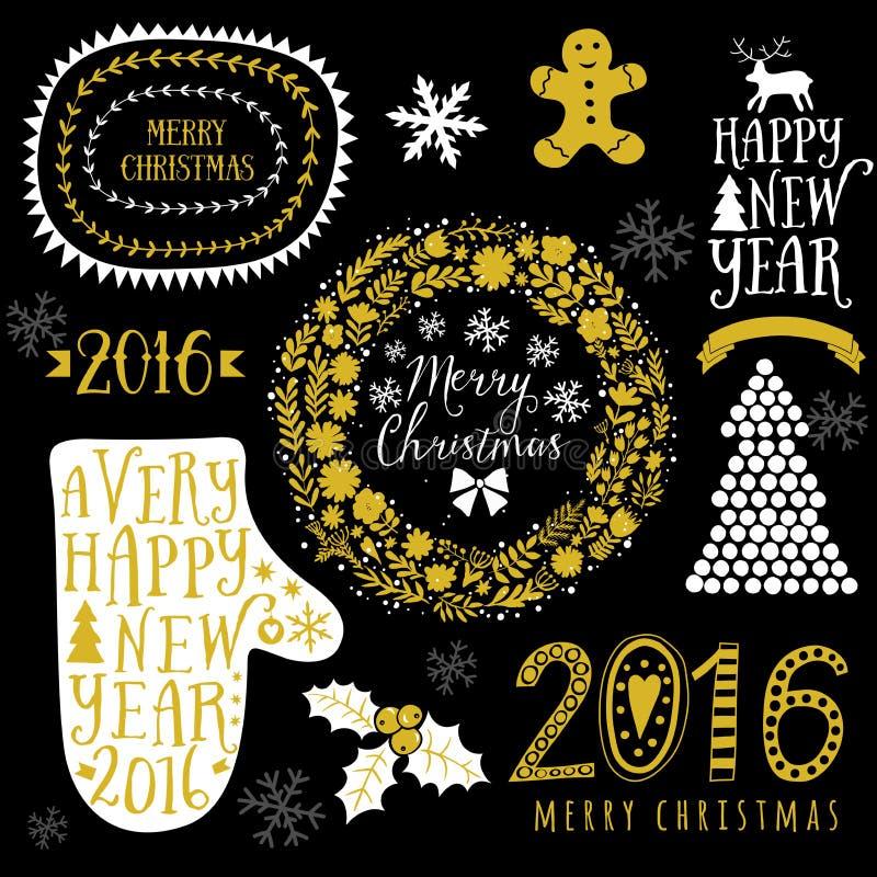 Projeto do ouro do vetor, Feliz Natal e ano novo feliz caligráficos, mitene, grinalda, quadros, 2016 sinais feitos a mão Natal aj ilustração royalty free