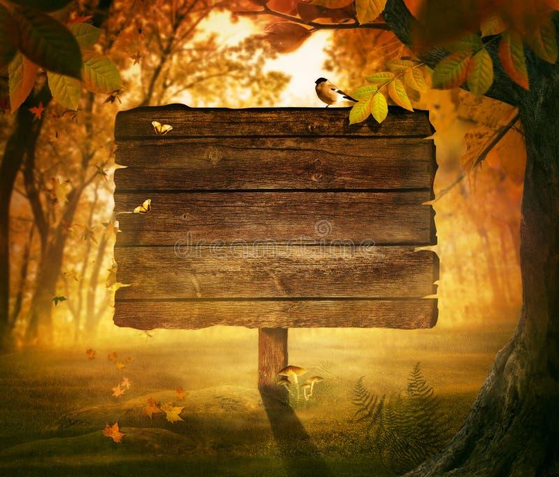 Projeto do outono - sinal da floresta fotos de stock royalty free