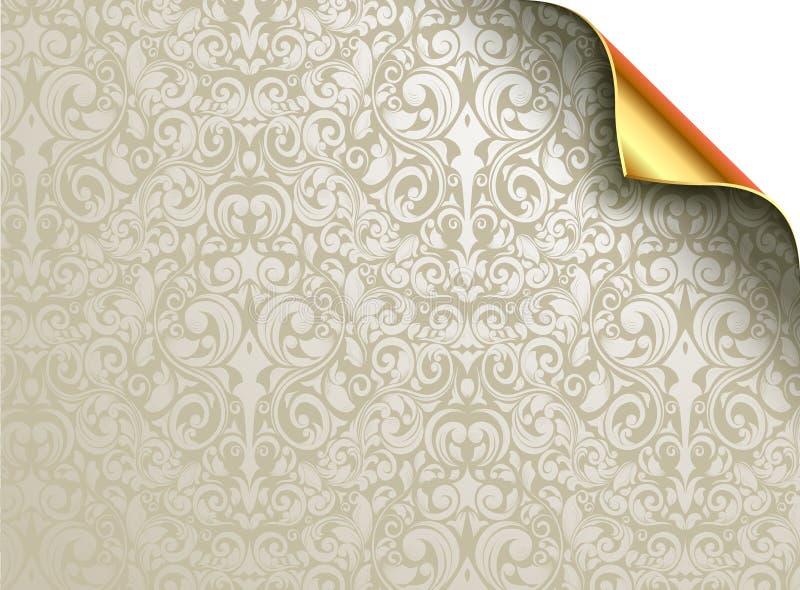 Projeto do papel de parede do vetor com canto dourado dobrado ilustração do vetor