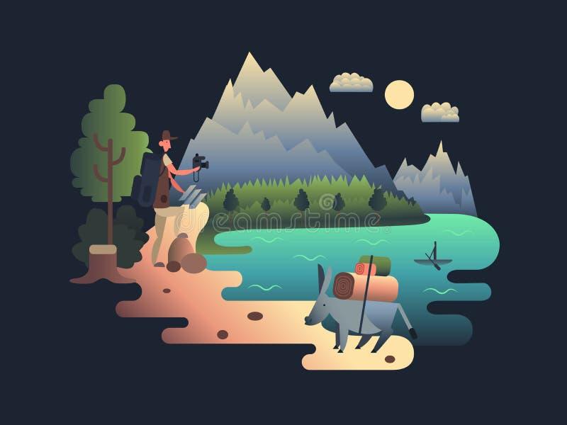 Projeto do pesquisador do viajante liso ilustração royalty free