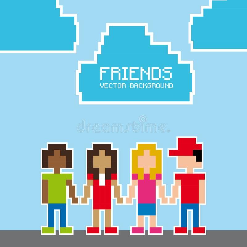 Projeto do pixel dos amigos ilustração stock