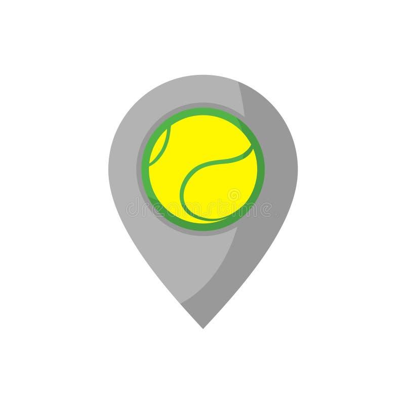 Projeto do ponto do lugar com tração da bola de tênis ilustração do vetor
