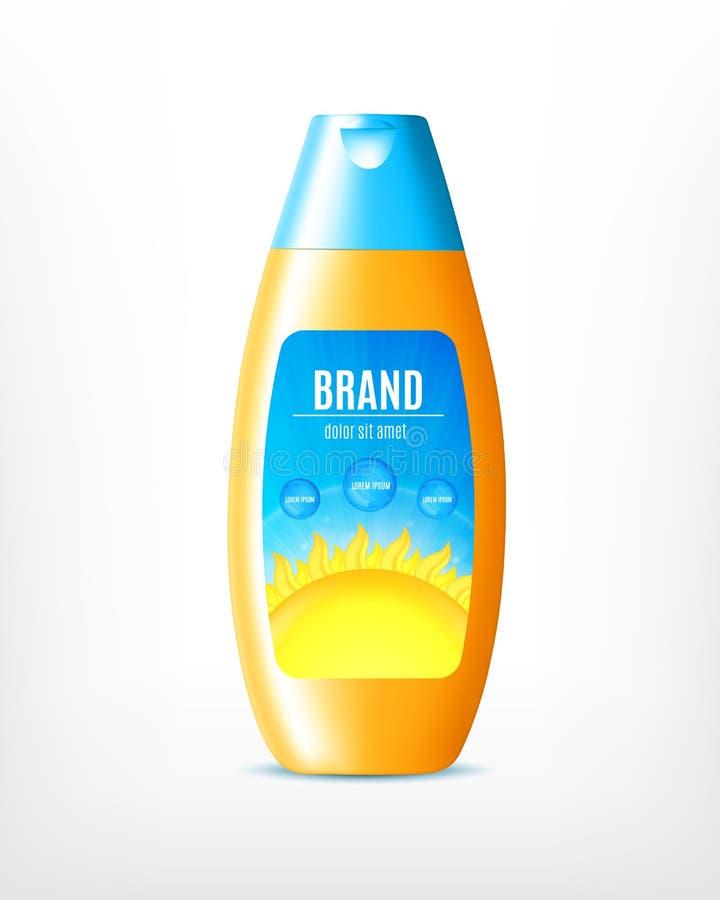Projeto do produto do cosmético da proteção do sol ilustração stock