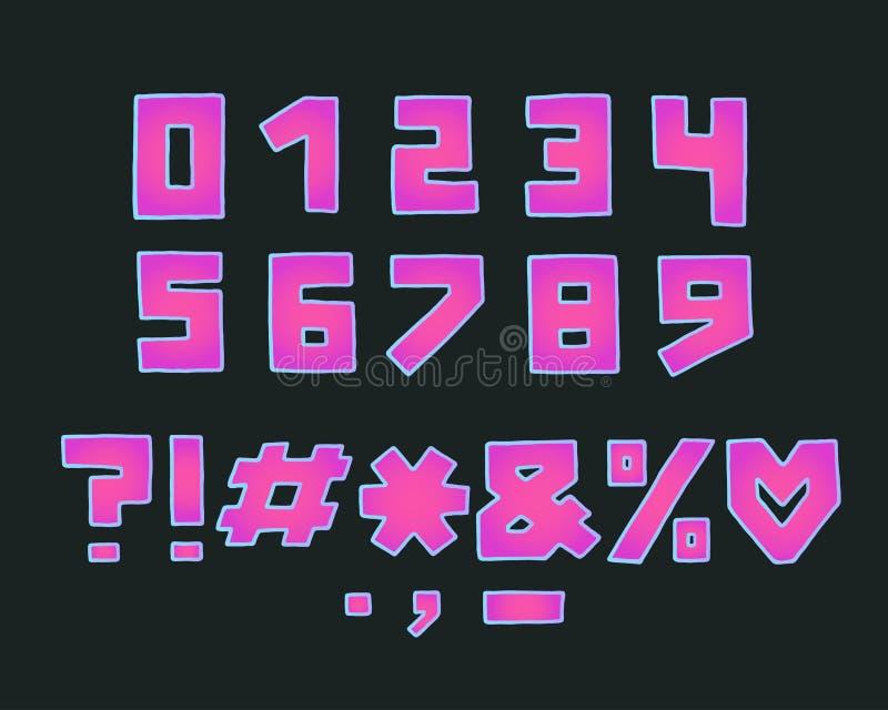 Projeto do quadrado do alfabeto, estilo de néon da cor Números, marcas de pontuação Fonte corajosa da pena da mão Mão desenhada E ilustração royalty free